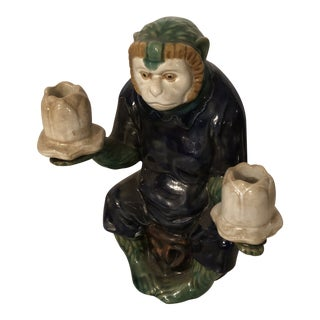 1950s Porcelain Monkey Candle Holder For Sale