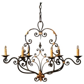 Early 20th Century French Painted and Gilt Iron Chandelier With Fleur-De-Lys For Sale