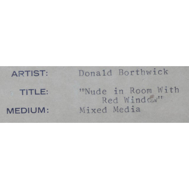 """Donald Borthwick (American, 20th C.) """"Nude in Room With Red Window"""" Mixed Media Original C.1964 For Sale - Image 11 of 12"""