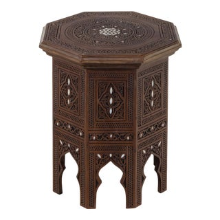 Carved Moorish Style Mother-Of-Pearl Inlaid Carved Walnut Table For Sale