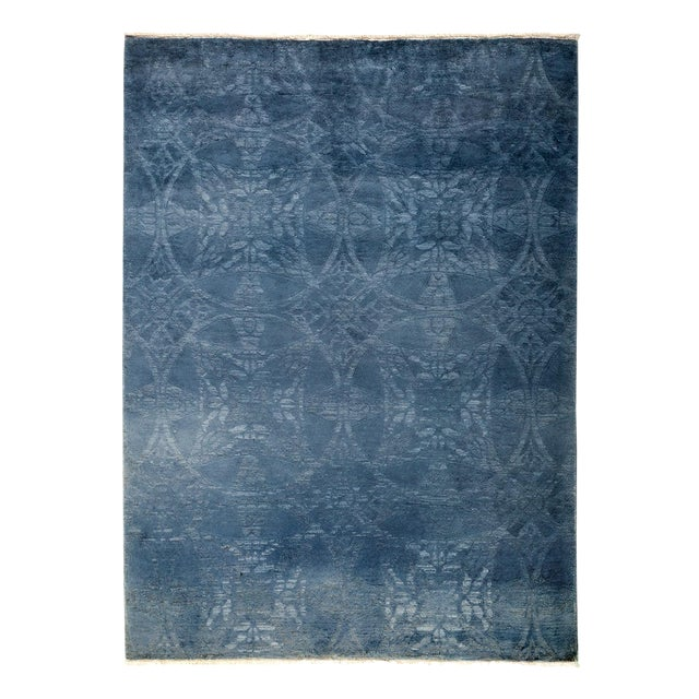 """Blue Over-Dyed Hand-Knotted Rug - 5'2"""" X 6'10"""" - Image 1 of 3"""