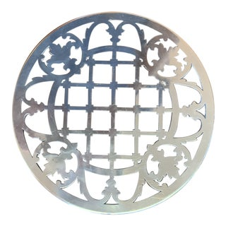 Vintage Mid 20th Century Poole Sterling Silver and Glass Trivet For Sale