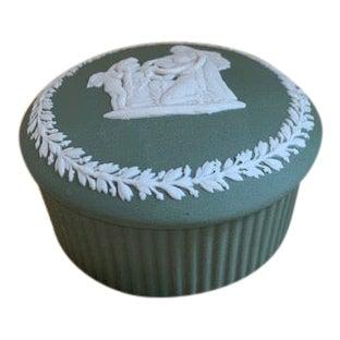 1960's Vintage English Wedgwood Jasperware Olive Trinket Box For Sale