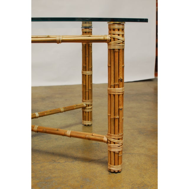 McGuire Reeded Bamboo Rectangular Dining Table - Image 6 of 8