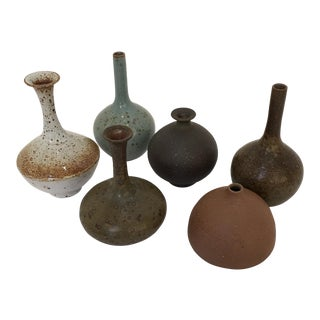Swedish Modern Mini Pottery Vases - Set of 6 For Sale