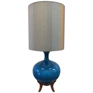 Large Ceramic Lamp with Teak Base For Sale