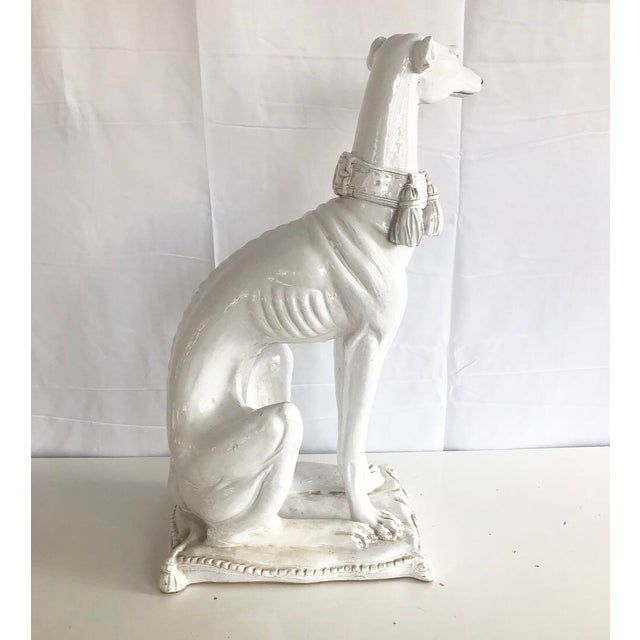 1960s Large Scale Vintage Italian Whippet Dog Sculpture With Tassel Collar Sitting on Pillow For Sale - Image 5 of 13