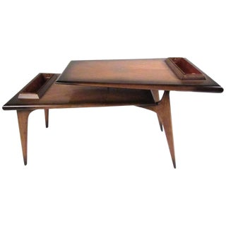 Mid-Century Modern Two-Tier Mahogany Coffee Table For Sale