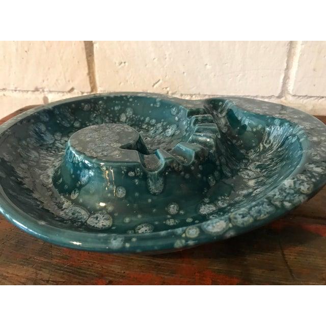 Mid-Century Nautilus Shaped Drip Glaze Teal Ashtray For Sale - Image 4 of 9