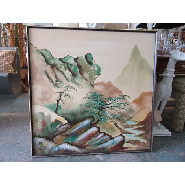 Japanese Landscape Watercolor Painting - Image 4 of 6