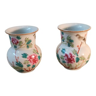 Chinese Famille Rose Porcelain Vases - a Pair For Sale