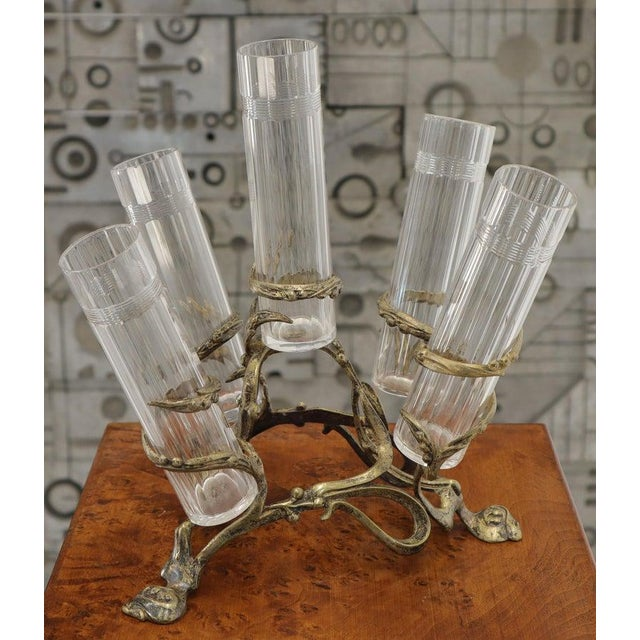 Gold Art Nouveau 5 Branches Center Piece Cut Glass Vases For Sale - Image 8 of 13