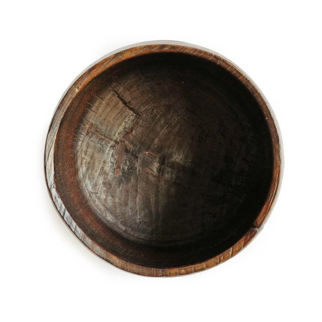Old Nepal Wood Container Bowl For Sale - Image 4 of 7