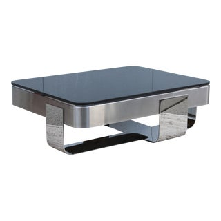 1970's Brueton Polished Steel And Granite Coffee Table