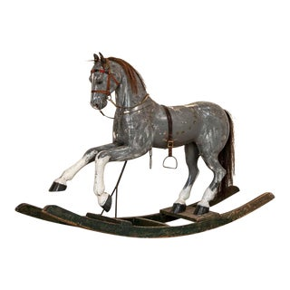 Early 20th Century Antique Original Painted Child's Rocking Horse From Sweden For Sale