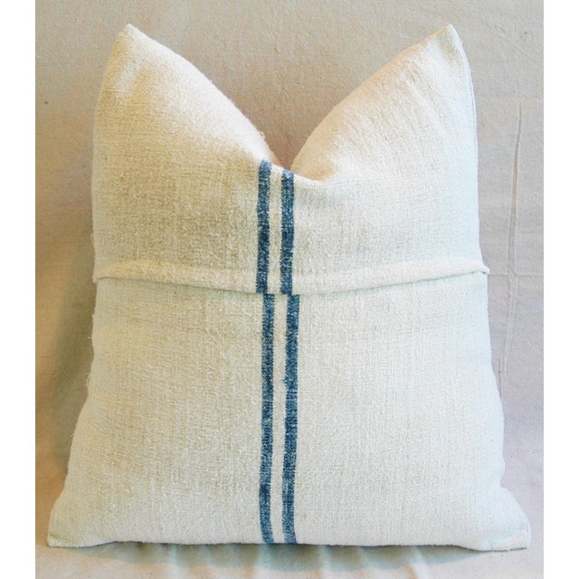 Blue Stripe French Grain Sack Down & Feather Pillow - Image 4 of 6
