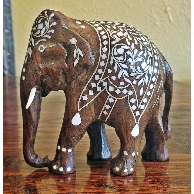 Late 19th Century 19th Century Anglo Indian Carved Rosewood and Bone Inlaid Elephant Figure For Sale - Image 5 of 8