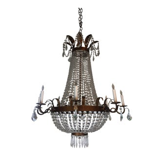 Late 20th Century Traditional Crystal Chandelier With Bronze Painted Patina For Sale
