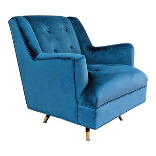 Vintage Mid-Century Modern Teal Velvet Swivel Chair For Sale