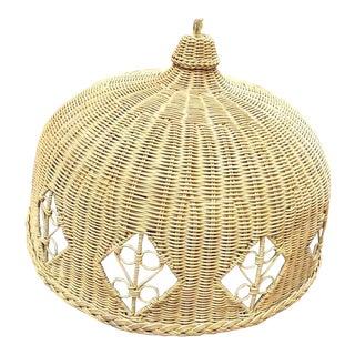 Vintage Massive Wicker Off White Weaved Palm Beach Regency Chandelier Domed Light For Sale
