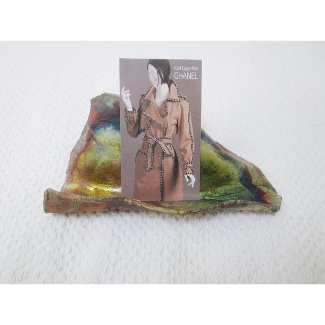 Modernist Organic Ceramic Raku Card Holder - Image 3 of 5