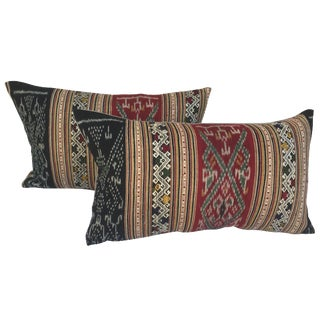 Thai Silk Ikat Pillows - A Pair For Sale