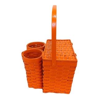 Orange Wicker Picnic Basket Wine Bottle Carrier Caddy