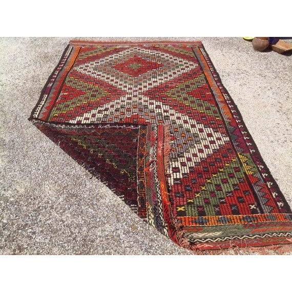 "Vintage Turkish Kilim Rug - 5'2"" X 8'6"" For Sale In Raleigh - Image 6 of 6"
