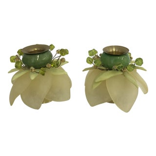 Orna Lalo Modern Lotus Candle Holders- a Pair For Sale