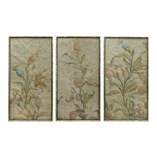 18th Century Floral Aubusson Panels, Set of Three For Sale