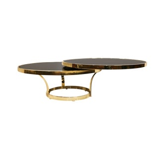 Mid Century Two Tier Brass Glass Swivel Coffee Table Design Institute America Style For Sale