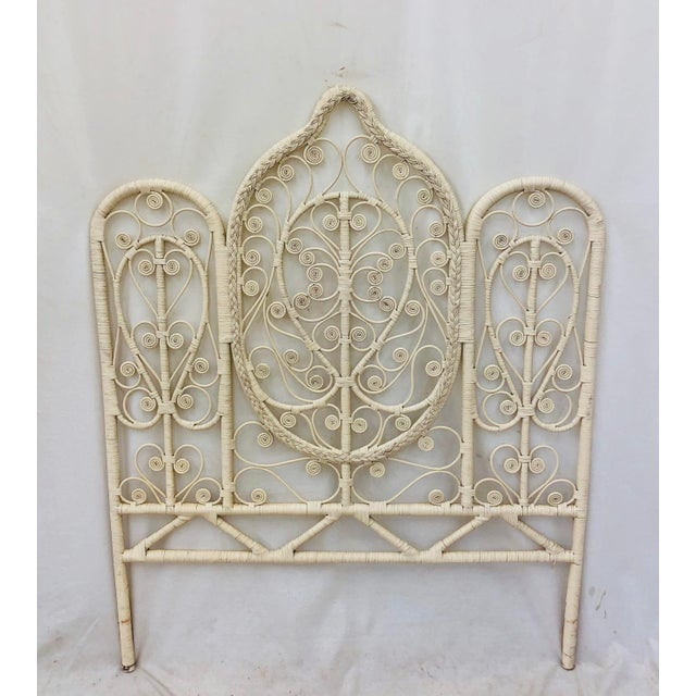 """Stunning Vintage Mid Century Woven Wicker Headboard. A true """"peacock"""" style piece with Elaborate curlicues that are woven..."""