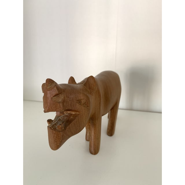 African Vintage Hand Carved Wooden African Hippo For Sale - Image 3 of 6