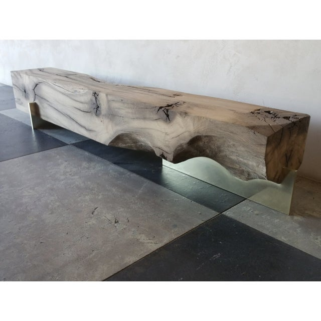 Contemporary Oz|shop Antique Oak Beam Bench With Brass Plate Feet For Sale - Image 3 of 7