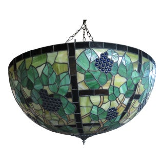 Vintage Grapevine Motif Leaded Stained Glass Chandelier For Sale