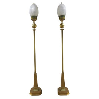 1940s French Art Deco 2-Tone Brass Lamp Post / Floor Lamp With Reeded Pearlescent Glass Shades - a Pair For Sale