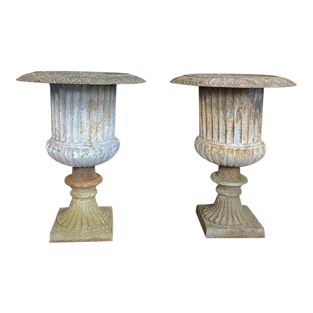 Pair Large 19th Century Cast Iron Jardinieres ~ Garden Vases For Sale