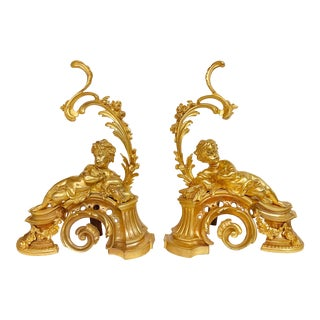 19th Century French Gilt Bronze Chenet by Victor Paillard France 1805-1886 - a Pair For Sale