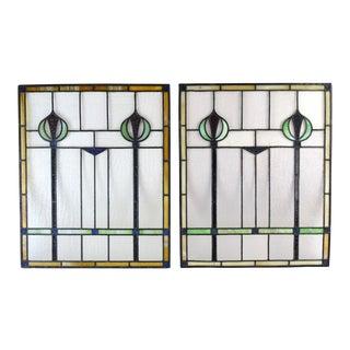 Antique Art Nouveau Art Deco Stained Glass Windows Vertical Scepters Stylized Flowers - a Pair For Sale