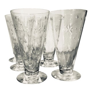 Mid-Century Modern Atomic Starburst Etched High Ball Glasses - Set of 6 For Sale