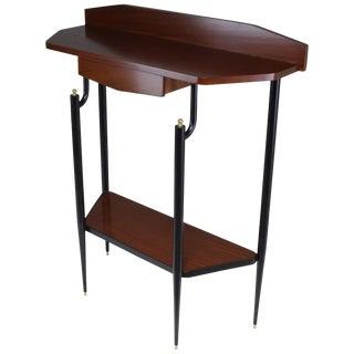 Italian Midcentury Mahogany Demilune Console Table, 1950s For Sale