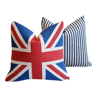 """17"""" Custom Tailored French Ticking & Union Jack Feather/Down Pillows - Set of 2 For Sale"""