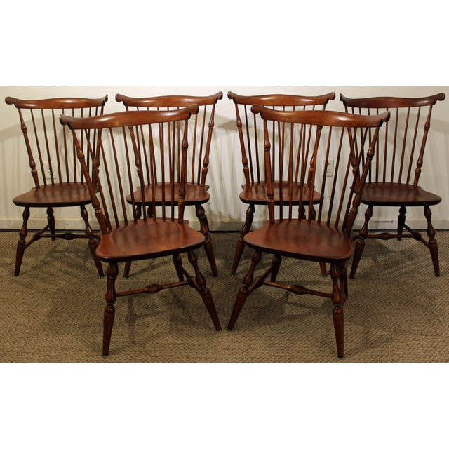 Set Of 6 Nichols Stone Cherry Fan Back Windsor Side Dining Chairs