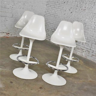 Set of Four Tulip Style White Swivel Barstools by Arthur Umanoff for Contemporary Shells Preview