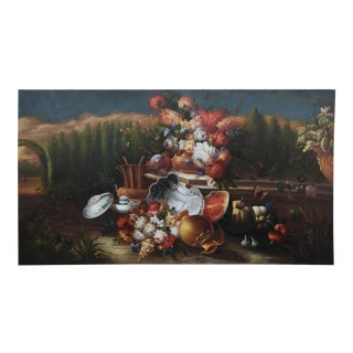 Vintage Painting Still Life on Canvas. Flowers and Fruits For Sale