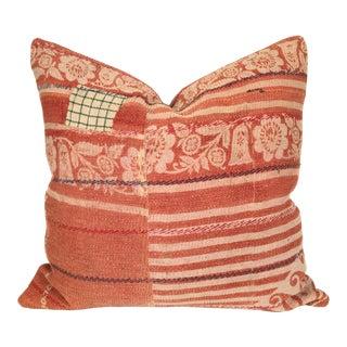 Vintage Kantha Coral Quilt Pillow
