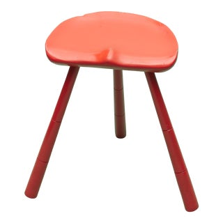 Vintage Swedish Orange Painted Three Legged Stool For Sale