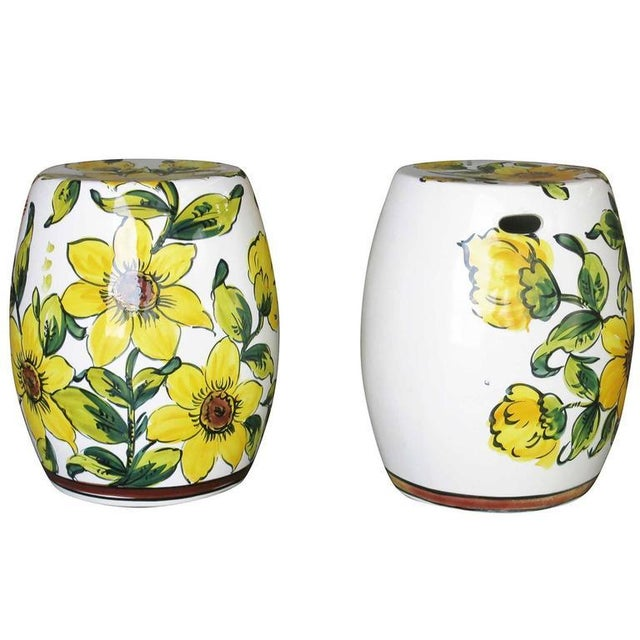Prime Italian Hand Painted Garden Stools A Pair Pabps2019 Chair Design Images Pabps2019Com