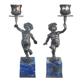Fine Pair of Silver and Lapis Lazuli Buccellati Cherub Candlesticks
