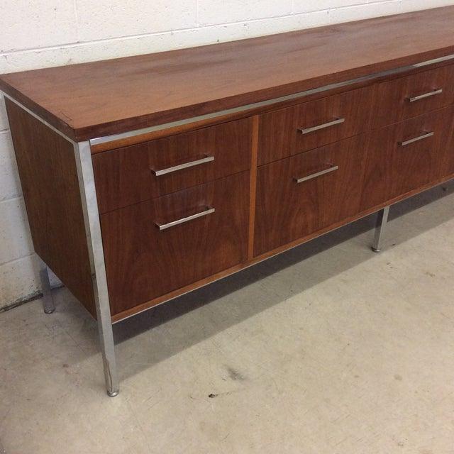 Monumental Alma Furniture Company Walnut & Chrome Credenza - Image 3 of 11